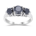 2.65 Cts AA Round Black Diamond Three Stone Ring in 14K White Gold