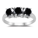 2.00 Cts Black Diamond Three Stone Ring in 14K White Gold