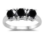 2.00 Cts Black Diamond Three Stone Ring in 14K White Gold