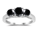 1.75 Cts AA Round Black Diamond Three Stone Ring in 14K White Gold
