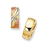 Gold Flappable Huggie Earrings in 14K Three Tone Gold
