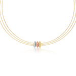 Adjustable Cable Necklace in 14K Three Tone Gold
