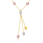 Pebbles Necklace in 14K Three Tone Gold