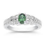 0.10 Cts Diamond & 0.56 Cts AAA Tsavorite Garnet Ring in 14K White Gold