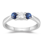 Three Stone Ring - 0.25 Ct Diamond & 0.44 Ct Sapphire Three Stone Ring