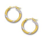 Gold Hoop Earrings in 14K Two Tone Gold
