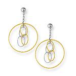 Gold Fashion Earrings in 14K Two Tone Gold