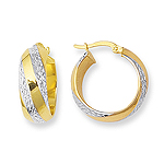 Swirl Diamond-Cut Hoop Earrings in 14K Two Tone Gold