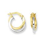Gold Hoop Earrings in 14K Two Tone Gold - Christmas Sale