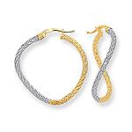 Gold Curvy Hoop Earrings in 14K Two Tone Gold