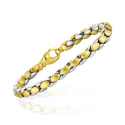 Oval Link Fashion Bracelet In 14k Two Tone Gold