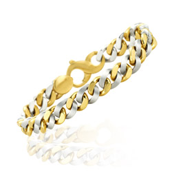 Single Link Charm Men's Bracelet in 14K Two Tone Gold