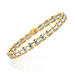 Bold Rectangular Link Fashion Bracelet in 14K Two Tone Gold