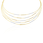 Adjustable Cable Necklace in 14K Two Tone Gold