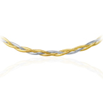 Mirror Spring Braided Necklace in 14K Two Tone Gold