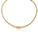 Womens Fancy Graduated Braided Necklace in 14K Two Tone Gold