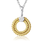 Cubic Zircon & Gold Circle Pendant in 14K Two Tone Gold