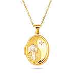 Guardian Angel Gold Oval Locket Pendant in 14K Two Tone Gold