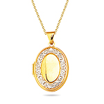 Gold Pendant in 14K Two Tone Gold