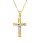 Gold Cross Pendant in 14K Two Tone Gold