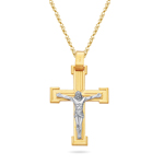 Gold Crucifix Pendant in 14K Two Tone Gold