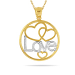 Gold Heart-Circle Pendant in 14K Two Tone Gold