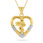 Gold Heart Pendant in 14K Two Tone Gold