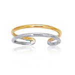 Shiny Cuff Type Gold Toe Ring in 14K Two Tone Gold
