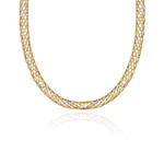 Balinese Bead Braided Necklace in 14K Two Tone Gold