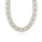 Balinese Bead Braided-Mesh Necklace in 14K Two Tone Gold