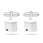 Blue Sapphire Men's Square Cufflinks in Silver