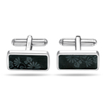 Stainless Steel Black Rectangle Flower Cufflinks