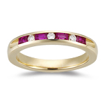 Ruby Band - 1/10 Ct Round Diamond & 0.55 Ct Baguette Ruby Wedding Band