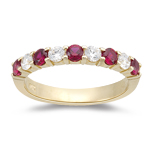 0.21 Cts Diamond & 0.44 Cts Ruby Wedding Band in 14K Yellow Gold { VVS2 }
