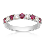 0.21 Cts VS1 Diamond & 0.44 Cts Ruby Wedding Band in 14K White Gold