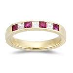 Ruby Band - 0.30 Ct Diamond & 0.60 Ct Ruby Wedding Band