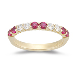 Ruby Band - 0.24 Ct Diamond & 0.54 Ct Ruby Wedding Band