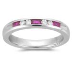 Ruby Band - 0.12 Ct Diamond & 0.42 Ct Baguette Ruby Wedding Band