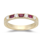 Wedding Band - 0.32 Ct Diamond & 0.42 Ct Baguette Ruby Wedding Band