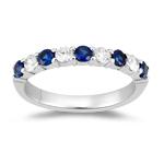 Sapphire Band - 1/5 Ct Diamond & 1/3 Ct Sapphire Wedding Band