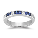 Sapphire Band - 0.24 Ct Diamond & 0.90 Ct Sapphire Wedding Band