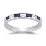 Sapphire Band - 0.30 Ct Diamond & 0.60 Ct Sapphire Wedding Band
