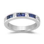 Sapphire Band - 0.16 Ct Diamond & 0.72 Ct Sapphire Wedding Band