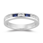 0.36 Ct Round Diamond & 0.60 Ct Princess-Cut Sapphire Wedding Band