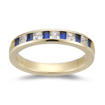 0.40 Ct Princess-Cut Diamond & 0.60 Ct Baguette Sapphire Wedding Band