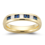 0.30 Ct Princess-Cut Diamond & 0.80 Ct Baguette Sapphire Wedding Band