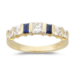 0.64 Ct Princess-Cut Diamond & 0.30 Ct Baguette Sapphire Wedding Band