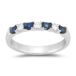 0.24 Ct Diamond & 0.60 Ct Baguette Sapphire Wedding Band