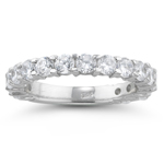 1.60 Cts Diamond Wedding Band in 18K White Gold