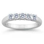 0.85 Ct Diamond Five Stone Wedding Band in 18K White Gold